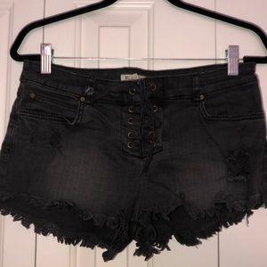 Billabong black lace up shorts, size 27